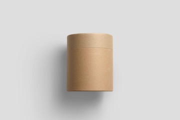 Kraft Brown Paper Tube Tin Can Mock up, 3D rendering.