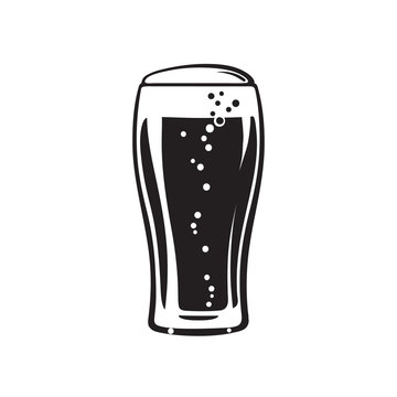 Tulip beer glass. Hand drawn vector illustration on white background.