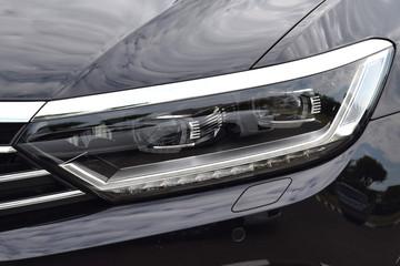 headlight of a modern black car