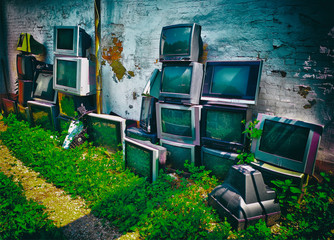 Viintage crt screens at streets of Russia background hd
