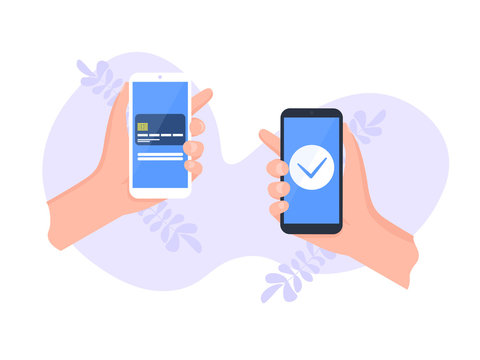People sending and receiving money wireless with their mobile phones. Hands holding smart phones with banking payment apps. Flat style vector illustration.