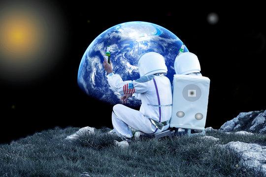 Astronauts drinking beer