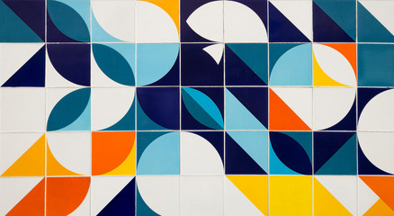 Mid century modern pattern ceramic tiles in Rio de Janeiro, Brazil
