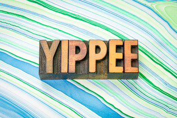 yippee word in wood type