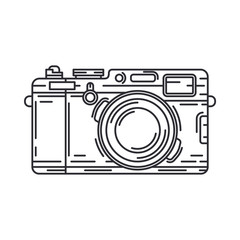 Line vector icon with digital slr professional camera. Photography art. Megapixel photocamera. Cartoon style illustration, element design. Photographic lens. Snapshot equipment. Digital photo studio.