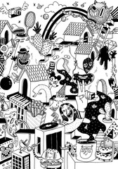 Black and white doodle of imaginary cartoon city