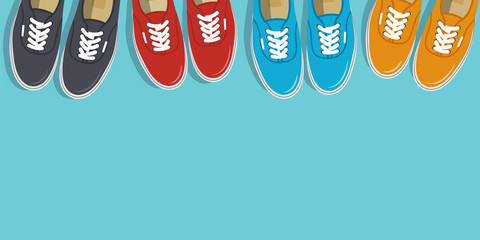 Sneakers top view. Shoes background. Sneakers and Slippers collection. Vector