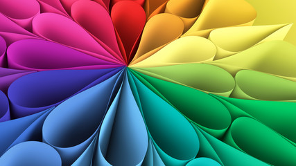 Colorful rainbow flower background. 3d illustration