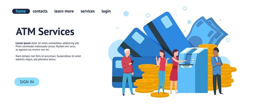 Atm landing page. Mobile banking and online payment concept website template. Vector illustration savings simple payment purchase