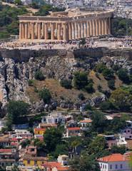 Parthenon ancient marble temple on Acropolis hill, Athens Greece