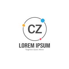 Fototapeta Initial CZ logo template with modern frame. Minimalist CZ letter logo vector illustration obraz