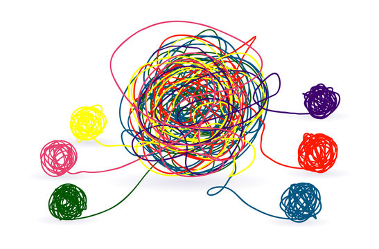 Psychotherapy abstract color tangle of mental disorders.