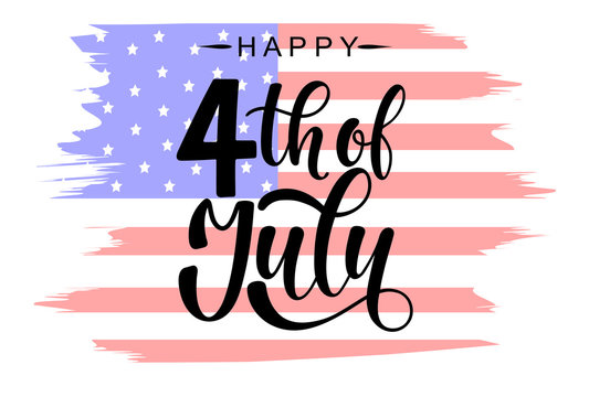 Happy 4th of July Independence day USA  handwritten phrase with American flag isolated on white background. Celebration lettering illustration. Vector illustration.