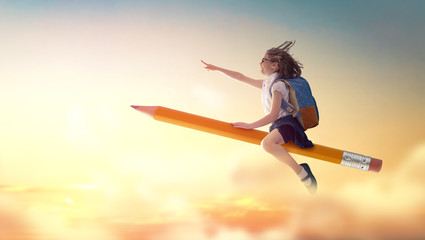child flying on a pencil Wall mural