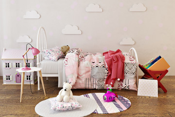 Adorable little girls bed room interior with toys, doll house and reading books. 3d rendering