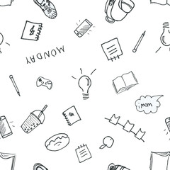 Back to School wallpaper seamless print hand drawn doodle style