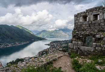 Aerial view of Dobrota and Kotor from hike to Fortress