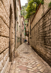 Tiled surface of pedestrian streets of old town Kotor in Montenegro