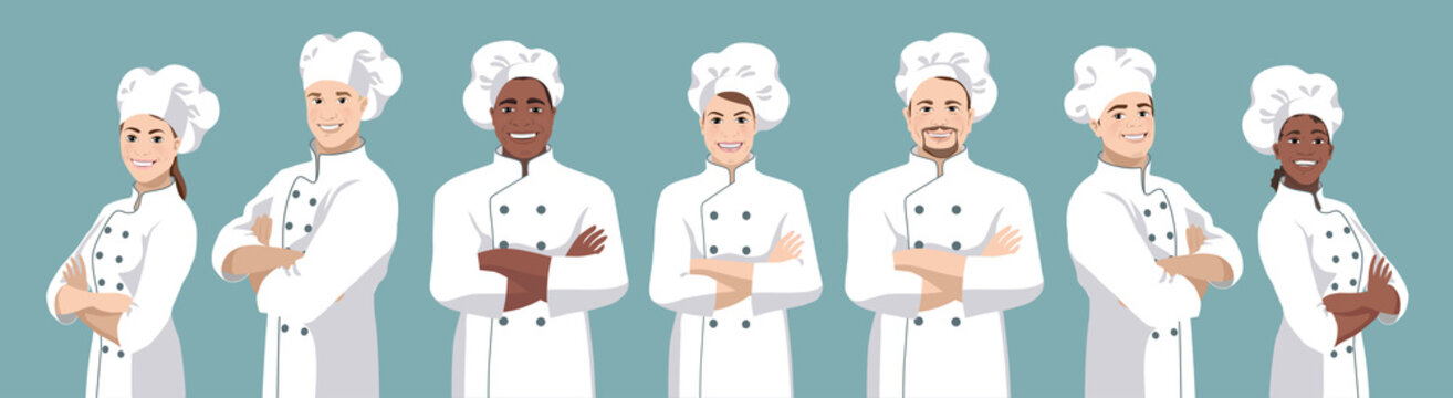 Set of chefs. European and African American smiling men and women stand half turned and facing camera, have crossed arms and wearing chef uniform and hat. Vector illustration