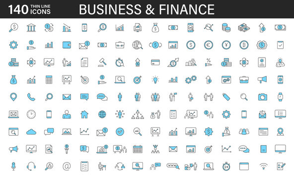 Big set of 140 Business and Finance web icons in line style. Money, bank, contact, office, payment, strategy, accounting, infographic. Icon collection. Vector illustration.