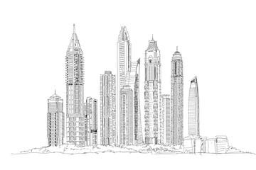 Dubai. Skyscrapers of the Dubai Marina.  Sketch collection illustration