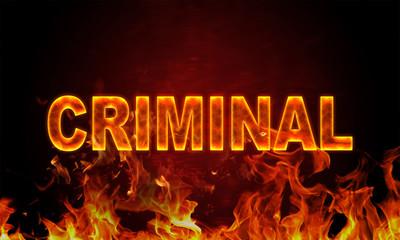 Papiers peints Affiche vintage Burning word criminal in flames