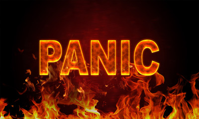 Papiers peints Affiche vintage Burning word panic in flames