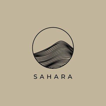 creative desert logo design with line illustration
