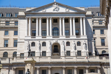 Bank of England in the City of London. Facade