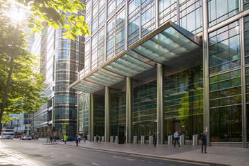 London, UK. Canary Wharf City Bank head office entrance