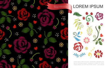Wall Mural - Floral Stylish Embroidery Concept
