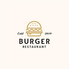 burger line art logo template illustration vector icon download
