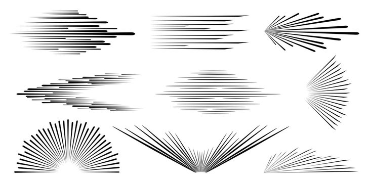 Speed line. Speed comic book. Background of radial lines. Set of various symbols of movement, speed, explosion, radiance, flying particles.  Black silhouette. Isolation. Vector illustration