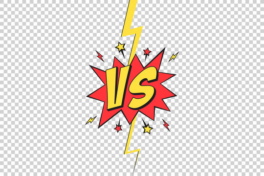 VS frame. Versus pop art design on transparent background, comic with lightning ray border for intro of superhero fight and duel. Vector illustration.