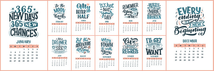 Modern typography lettering compositions. 2020 calendar with funny motivation quotes. Hand drawn illustrations. Trendy slogan, vector graphic Wall mural