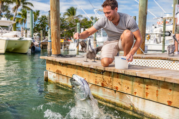 Florida tourism summer vacation attraction tourist man having fun feeding tarpon fish in the keys, USA travel lifestyle.