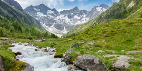Fototapete - Panorama eines Gebirgsbaches von einem Gletscher