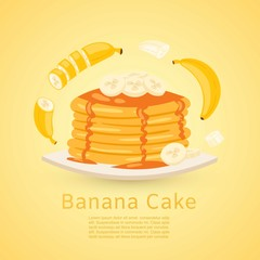 Banana and pancake recipe with pictures of bananas and maple syrup on yellow background. Retro vector illustration for flapcake or banana bread recipe.