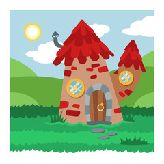 Keuken foto achterwand Magische wereld Fantasy gnome house vector cartoon fairy treehouse and magic housing village illustration set of kids gnome fairytale pumpkin or stone playhouse for gnome background