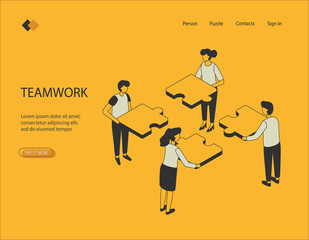 Isometric image on a yellow background work together. Visualization of characters, men and girls holding puzzles. Can be used in infographics, on banners. Vector illustration.