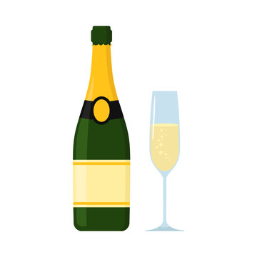 Champagne  bottle with glass. Vector. Isolated.