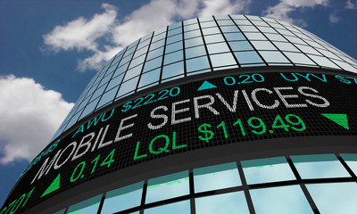 Mobile Services Telecommunication Stock Market Industry Sector Wall Street Buildings 3d Illustration