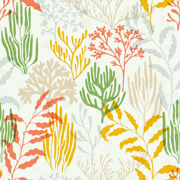 Coral polyps seamless pattern., Tropical coral reef branch silhouette elements.