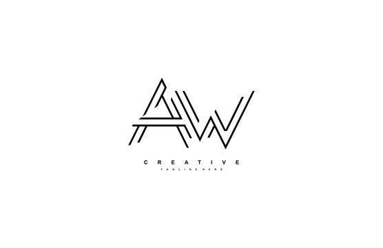 Letter AW Monoline Linear Minimalism Modern Type Logo