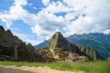 A unique and interesting view of the ancient Inca site of Machu Picchu, nestled high in the Andes Mountains of Peru