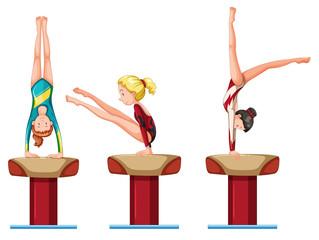 Set of female gymnastics athletes character