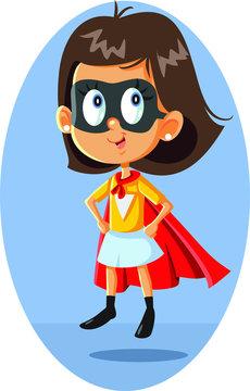 Super Heroine Girl Vector Illustration Cartoon