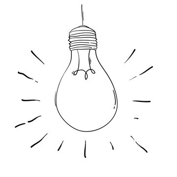 hand drawn light bulb illustration in doodle style for print, web