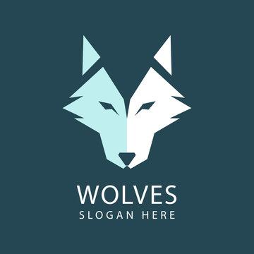 Wolf head Logo design vector template. Geometric logo of an abstract fox head. Vector