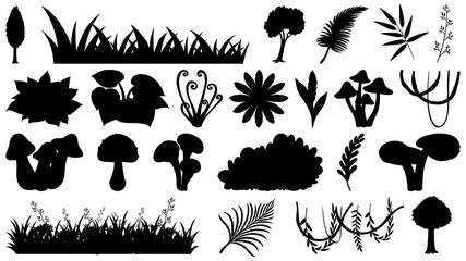 Set of ornamental plant silhouette
